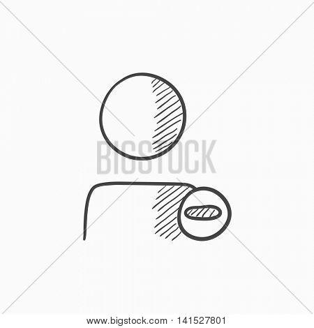 User profile with minus sign vector sketch icon isolated on background. Hand drawn User profile with minus sign icon. User profile with minus sign sketch icon for infographic, website or app.