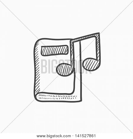 Audio book vector sketch icon isolated on background. Hand drawn Audio book icon. Audio book sketch icon for infographic, website or app.