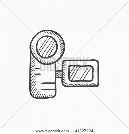 Digital video camera vector sketch icon isolated on background. Hand drawn Digital video camera icon. Digital video camera sketch icon for infographic, website or app.