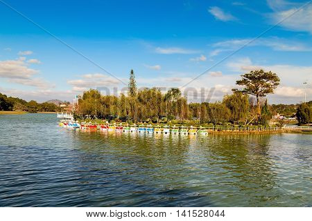 Catamarans At Xuan Huong Lake. Dalat, Vietnam