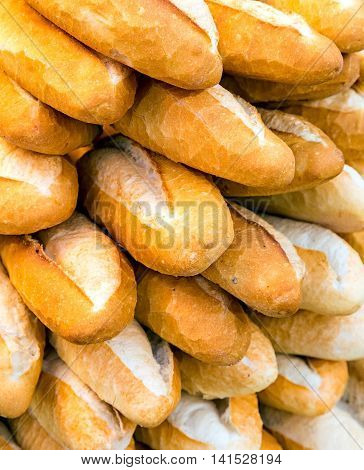 baguette, Fresh french bread background market boulangerie traditionally