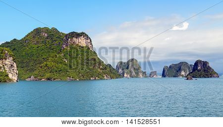 Ha Long Bay Green Island Halong Mountains Vietnam.