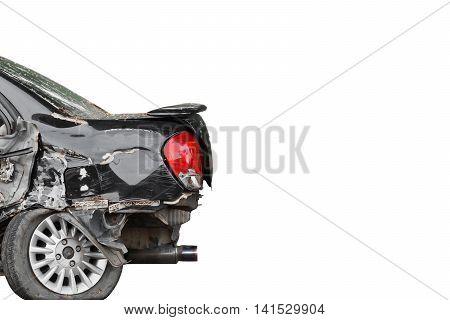 Car crash. Rear side of a damaged car. Car insurance concept