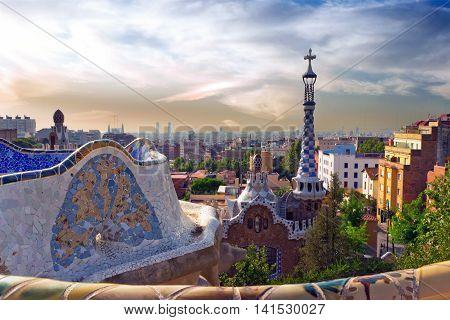 Antonio Gaudi In Park Guell, Barcelona