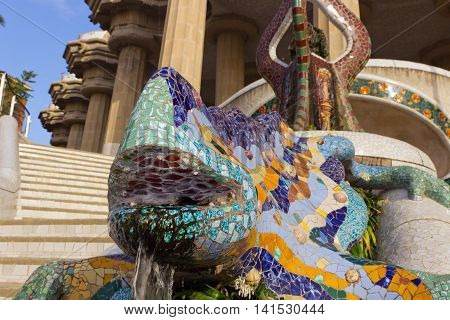 Mosaic Salamander In The Park Guell
