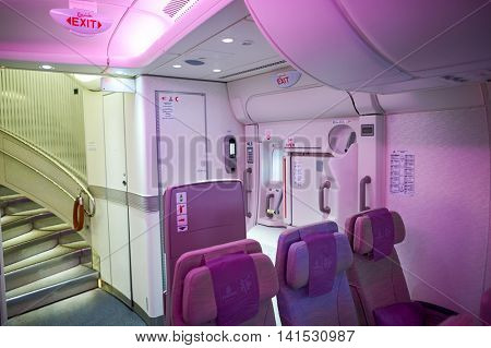 HONG KONG - MARCH 09, 2015: inside of Emirates Airbus A380. The Airbus A380 is a double-deck, wide-body, four-engine jet airliner.