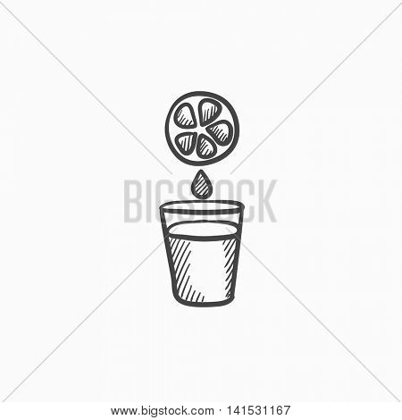 Glass of juice vector sketch icon isolated on background. Hand drawn Glass of juice icon. Glass of juice sketch icon for infographic, website or app.