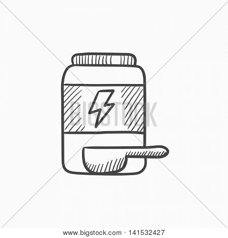 Sport nutrition container vector sketch icon isolated on background. Hand drawn Sport nutrition container icon. Sport nutrition container sketch icon for infographic, website or app.