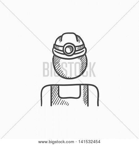 Coal miner vector sketch icon isolated on background. Hand drawn Coal miner icon. Coal miner sketch icon for infographic, website or app.