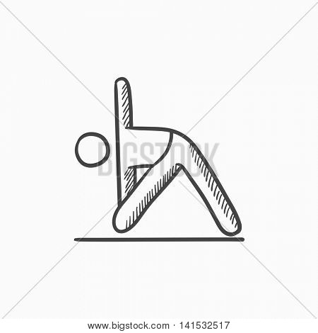A man meditating in triangle pose vector sketch icon isolated on background. Hand drawn man meditating in triangle pose icon. A man in triangle pose sketch icon for infographic, website or app.