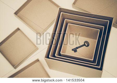 A key in secret boxes in vintage tone / Hidden secret concept