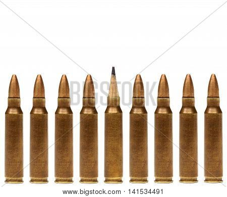 A rifle bullet with a pencil head / Idea is a powerful weapon concept