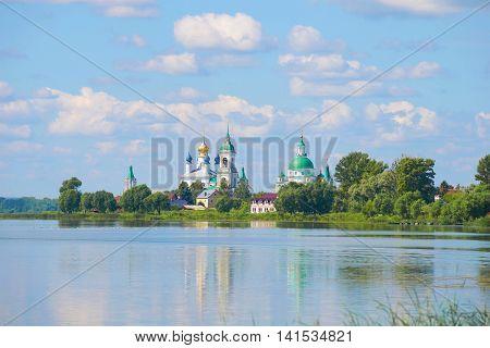 The old Spaso-Yakovlevsky Dmitriev monastery on lake Nero, july morning. Rostov Velikiy, Russia