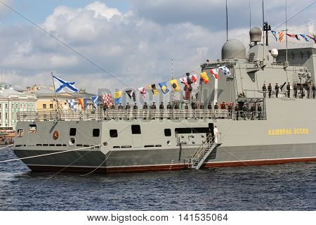 St. Petersburg, Russia - 31 July, The personnel on the ship's stern, 31 July, 2016. Festive parade of warships on the Neva River in St. Petersburg.