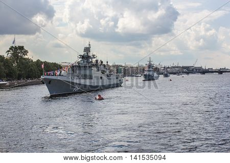 St. Petersburg, Russia - 31 July, Warships built in line, 31 July, 2016. Festive parade of warships on the Neva River in St. Petersburg.