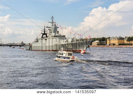 St. Petersburg, Russia - 31 July, Police Boat in the ship, 31 July, 2016. Festive parade of warships on the Neva River in St. Petersburg.