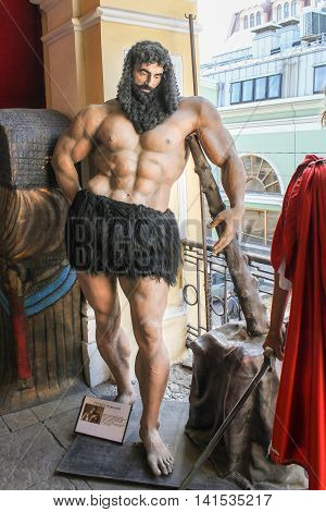 St. Petersburg, Russia - 9 April, The figure of the mythological Hercules, 9 April, 2016. Wax Museum Gallery large Gostiny Dvor.