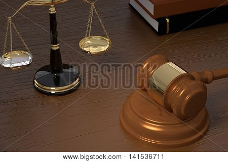 3D rendering of gavel law scales and books on a wooden table
