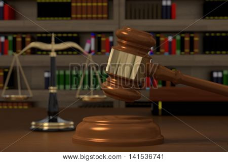 3D rendering of gavel law scales and books in law office