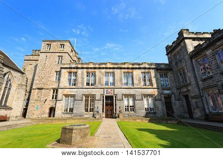 ABERDEEN SCOTLAND - 11 MAY 2016 : Aberdeen University King's College building. This is the oldest university in Aberdeen.