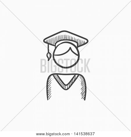 Graduate vector sketch icon isolated on background. Hand drawn Graduate icon. Graduate sketch icon for infographic, website or app.