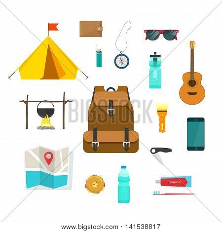 Backpacking hiking things collection vector set isolated on white background, traveler backpack equipment for camping, flat cartoon modern design