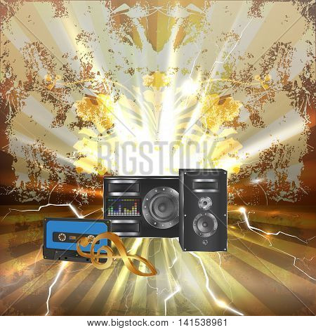 Musical background with audio cassette golden treble clef and speaker with equalizer.
