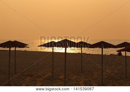 Umbrellas on the beach. Travel and vocation concept.