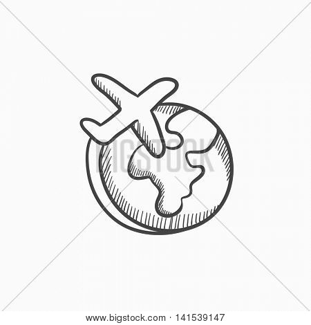 Airplane flying around the world vector sketch icon isolated on background. Hand drawn Airplane flying around the world icon. Airplane flying around world sketch icon for infographic, website or app.