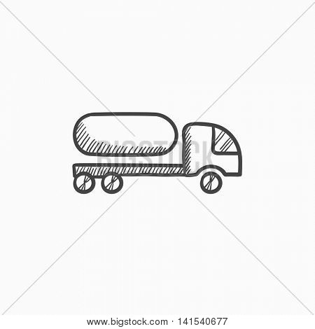 Fuel truck vector sketch icon isolated on background. Hand drawn Fuel truck icon. Fuel truck sketch icon for infographic, website or app.