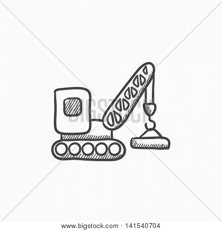 Lifting crane vector sketch icon isolated on background. Hand drawn Lifting crane icon. Lifting crane sketch icon for infographic, website or app.