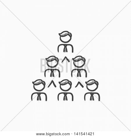 Business pyramid vector sketch icon isolated on background. Hand drawn Business pyramid icon. Business pyramid sketch icon for infographic, website or app.