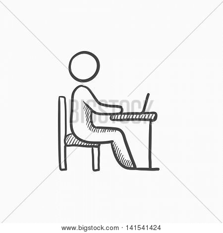 Businessman working on laptop vector sketch icon isolated on background. Hand drawn Businessman working on laptop icon. Businessman working on laptop sketch icon for infographic, website or app.