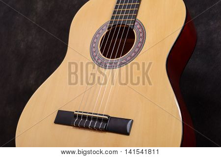 Acoustic Classical Guitar. Close-up Deck And Strings