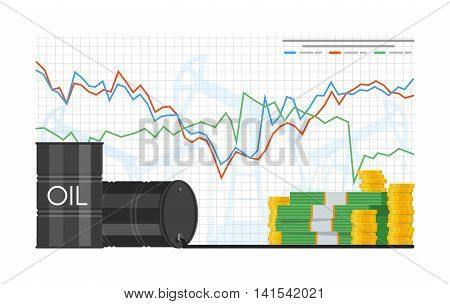 Barrel of oil price chart vector illustration in flat style. Stock chart on laptop screen. Pile of money.