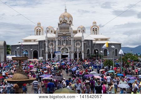 CARTAGO, COSTA RICA - July 31: Thousand ofcatholic pilgrims at Basilica of Our Lady of the Angels. July 31, 2016 in Cartago.