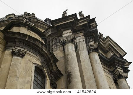 Dominican cathedral in Lviv, historic part of town