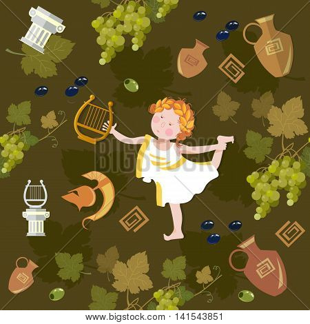 Ancient Greece and Ancient Rome funny angel with harp seamless pattern cartoon vector
