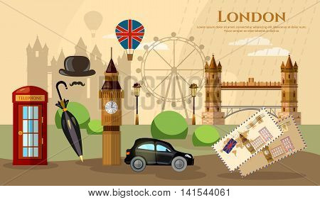 London banner capital of Great Britain atraction United Kingdom vector illustration