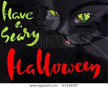Halloween illustration with black cat. Helloween handwritten lettering. Vector illustration. EPS10.