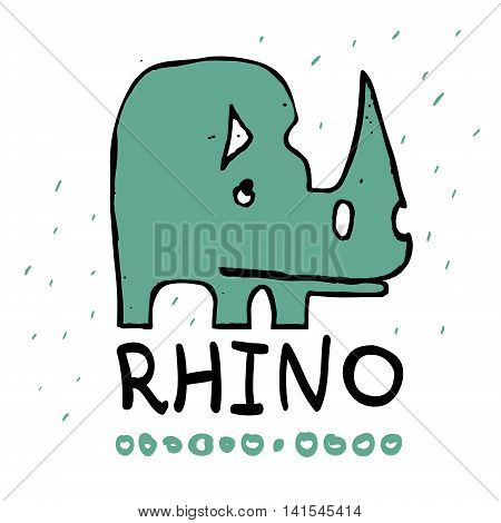 Cute vector illustration rhinoceros. Rhino silhouette. Hand drawn