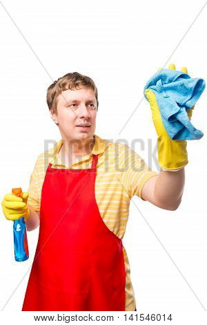 Vertical Portrait Of A Man With A Rag And The Spray On A White Background