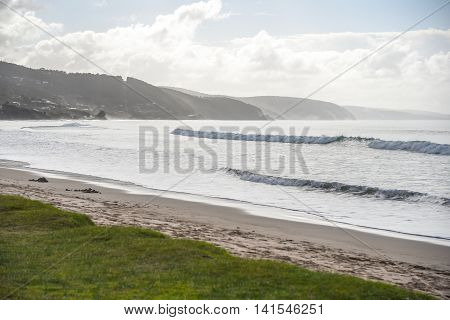Beautiful wave in the sea and layers of coastline summer landscape at Lorne beach (a town on Great Ocean Road route) Victoria Australia