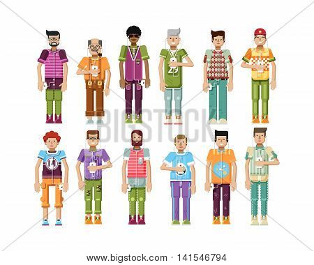 Stock vector illustration isolated set of men with smartphone in hands, men listen music from phone, mens sportswear comfortable clothes in flat style on white background