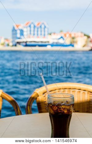 Cola in Curacao on Ocean Side Table