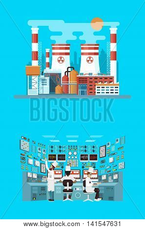 Vector Stock illustration of facade architecture nuclear power plant in flat style, power generation, interior science base, interior nuclear power plant, technical equipment, workers NPP