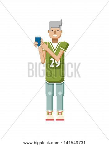 Stock vector illustration isolated of European blonde man in sports shirt and sweatpants, man touch screen smartphone by hand, man shows screen of phone in flat style on white background