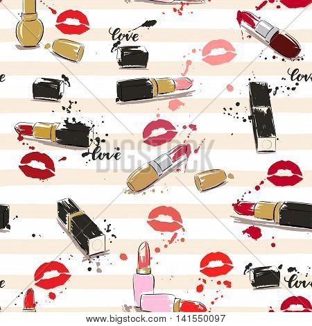 Drawing vector illustration with lipstick imprint of lips and splash paint. Seamless pattern