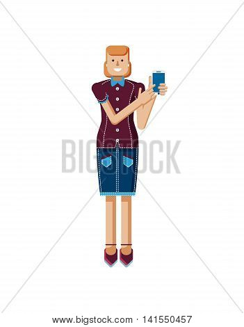 Stock vector illustration isolated of European woman with orange hair in denim skirt touches the screen, woman touch screen smartphone by hand, woman shows screen of phone flat style, white background