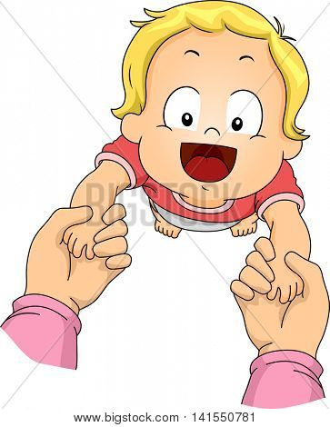 Illustration of a Baby Boy Learning How to Walk